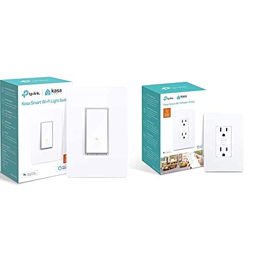 Kasa Smart Light Switch by TP-Link, Single Pole, Needs Neutral Wire, 2.4Ghz WiFi Light Switch, 1-Pack, White & Plug by TP-Link, in-Wall Smart Home WiFi Outlet Compatible with Alexa, Echo, Google Home
