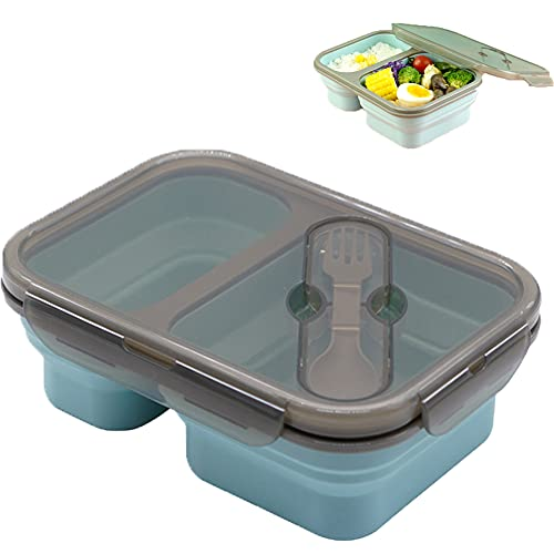Bento Box Plegable, Contenedor De Almacenamiento De Alimentos De Silicona De 2 Compartimentos Fiambrera a Prueba De Fugas Con Cuchara De Tenedor - Microondas/Congelador/Lavaplatos