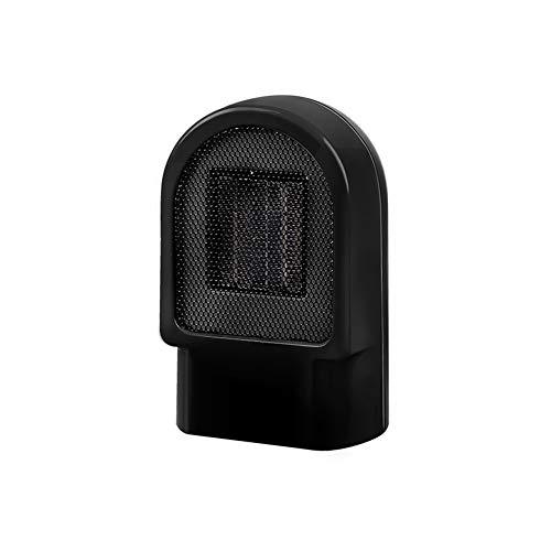 Hewyhat Mini 800 W - Radiador soplador de cerámica, portátil, calentador con termostato ajustable, protección radiador eléctrico, protección antitemperatura, color negro