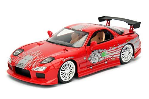 Jada Toys Fast & Furious Dom's 1993 Mazda RX-7 FD3S-Wide Body, Auto, Tuning-Modell im Maßstab 1:24, mit Spoiler, zu öffnende Türen, Motorhaube und Kofferraum, Freilauf, rot