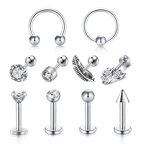 LAURITAMI Tragus Helix Piercing Ohrstecker Ohrring Ring Chirurgenstahl 16G Cartilago Diamant Piercing Schmuck