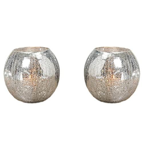 2er Set Windlicht Crackle 16 cm Teelichthalter Vase Teelicht Laterne Kerzenhalter