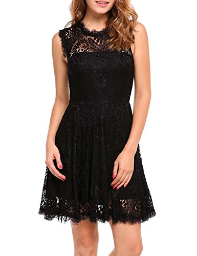 ANGVNS Women Elegant Long Sleeve A Line Party Cocktail Formal Swing Lace Dress with Lining
