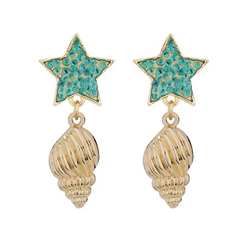 YAZILIND Shell Pendant Drop Earrings Fashion Irregular Geometric Dangle Earring Rhinestone Ear Jewelry(Cyan)