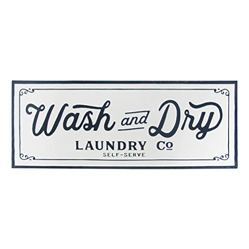 Metal Laundry Wall Sign - Wash and Dry