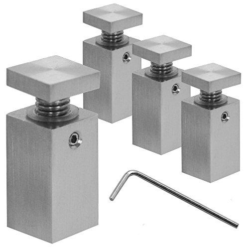 Distanziatore distanziale Muro Spacer acciaio inox fissaggio montaggio per vetro acrilico Ø1,8cm indoor outdoor quadrato, variant:4Stück - 1.8cm x 1.8cm x 4cm