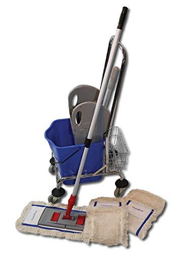 CleanSV© Wischset 50 cm Spr - Einfachfahrwagen Chrom mit Ablagekorb Putzwagen mit Presse, MopSet 50 cm: aus 3 Baumwollmop/Wischmop 50 cm, Mophalter 50 cm und Telekopstiehl