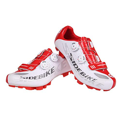 JIMAITEAM Professional Bicycle Cycling Shoes Mountains Bike Knob Racing Athletic Shoes Breathable MTB Self-Locking Shoes White 11