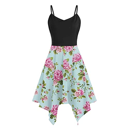 AMhomely Ladies Dresses Women's Floral Print Summer Fashion Casual V-Neck Sexy Sling Strapless Dress Promotion UK Size Shiping Within 7-12 Days