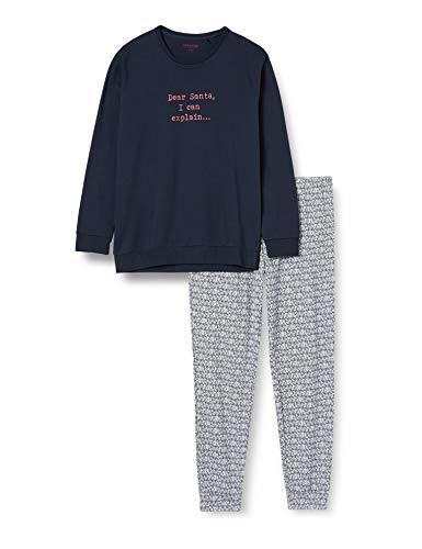 Schiesser Herren Family Anzug Lang Pyjamaset, dunkelblau, 58