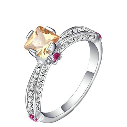 Bishilin 925 Silber Frauen Ring Princess Schliff Rechteck Kristall Freundschaft Paarringe Trauring Silber Größe 56 (17.8)