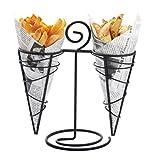 Hemoton - Portaconos para patatas fritas y patatas fritas y aperitivos, color negro