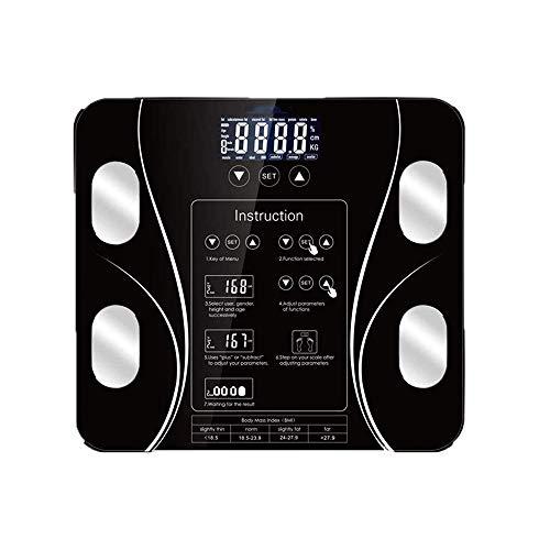 LLMLCF Intelligente Elektronische Waagen, Digital-Körpergewicht, Badezimmer-Körper-Index Körperfett-Digital-Skala, Smart-180KG Maßstab, Menschliches Gewicht My Scales LCD Floor Display,Schwarz