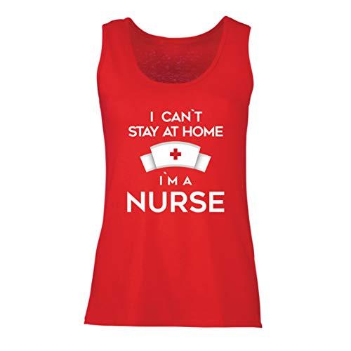lepni.me Camisetas sin Mangas para Mujer No Puedo quedarme En casa Soy una Enfermera Frontliners Regalo de reconocimiento de Tributo (Large Rojo Multicolor)
