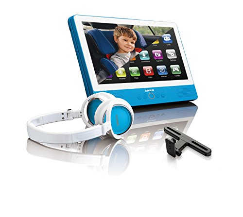 Lenco TDV-901 9-Zoll Tragbarer DVD-Player mit Android Tablet 7.0 – 4000mAH integrierter Akku – USB und SD Anschluss – Wi-Fi – Blau
