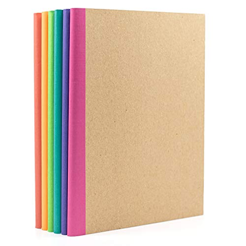 6 Pack Composition Notebook Journal- Kraft Cover with Rainbow Spines, Multi-Color Bright Linen Tape Bound Binding- Lined Paper- small size 8 in by 5.75 in- notes, travel, office, home and school