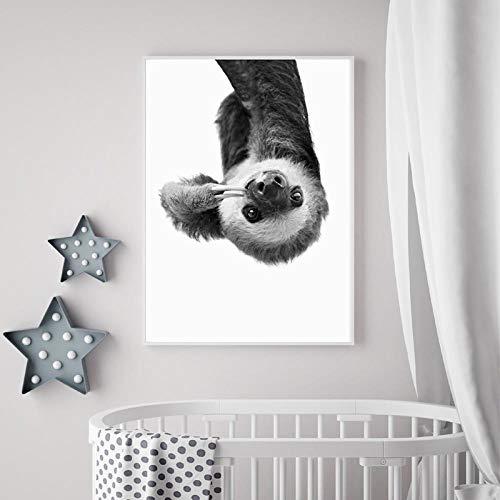 CNHNWJ schattige dieren luier zwart wit muurkunst canvas schilderij printposter afbeelding huis muurkunst decoratie schilderij 50x70cmx1 / geen lijst