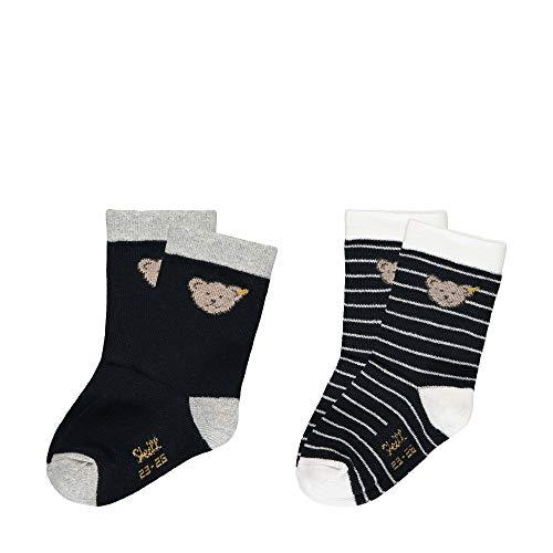 Steiff Baby-Unisex 2er Pack Socken, Blau (Black Iris 3032), 26 (Herstellergröße: 026)