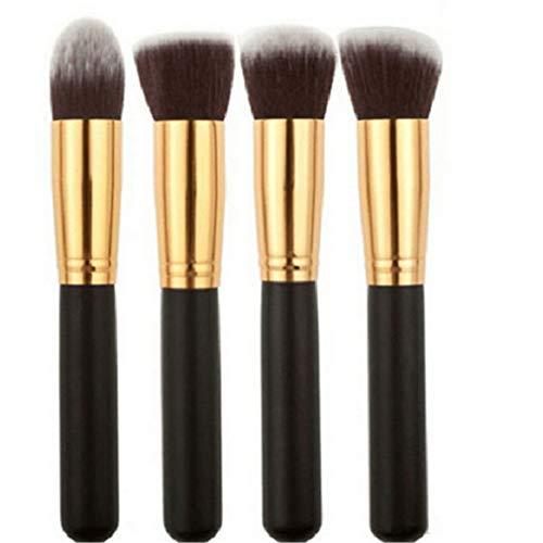 MOONRING 4 PCS Maquillage Brosse Ensemble À Manche Long Rond Plat Haut Professionnel Visage Professionnel Comestic Brosse Kit, Doré noir