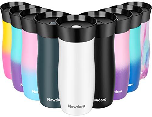 Newdora Termo Café para Llevar Taza de Viaje con Aislamiento al Vacío de 380ml de Acero Inoxidable Termos para Té o Café Tazas Térmicas al Vacío de Doble Pared sin Desenroscar la Tapa