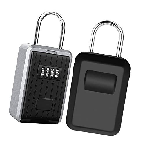 PINGDONGHANG Caja de bloqueo de llaves de gran capacidad montada en la pared con tapa, caja de almacenamiento de llaves con cerradura de combinación de 4 dígitos