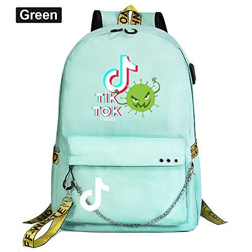 School Backpack Ladies Laptop Backpack USB Charging Port Waterproof Backpack 45cm*30cm*15cm Green