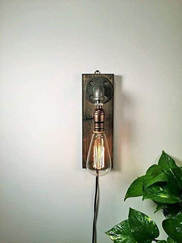 Plug in Industrial Steampunk wall sconce pipe lamp with classic Edison bulb and weathered wood base