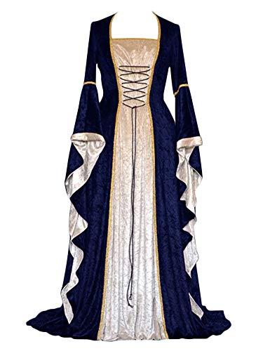ZhuiKunA Donna Vintage Rinascimentale Medievale Abito,Manica Lunga Fancy Cosplay Vestito Blu Navy 2XL