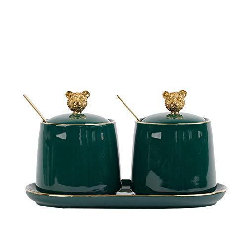 2 stks Nordic Groene Keramische Kruiden Jar Set Keuken BenodigdhedenKruiderij Flessen met Lepel Deksel Zout peper Shaker Spice Container