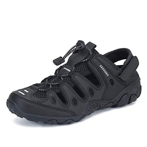 Men's Women's Closed Toe Sports Hiking Sandals Waterproof Outdoor Water Rafting River Fishing Walking Shoes Slippers Black 8.5 Women/6.5 Men