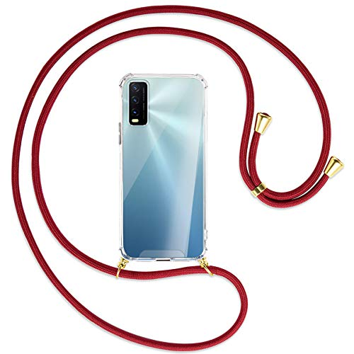 mtb more energy Collar Smartphone para Vivo Y20s, Vivo Y11s (6.51'') - Rojo Oscuro/Oro - Funda Protectora ponible - Carcasa Anti Shock con Cuerda Correa