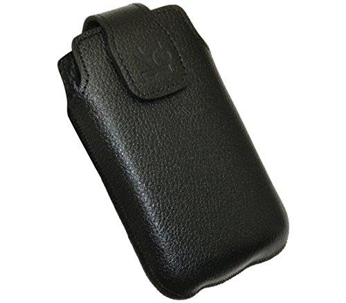 Original Suncase Tasche für / Doro PhoneEasy 612gsm - 612 / Leder Etui Handytasche Ledertasche Schutzhülle Hülle Hülle / in vollnarbig-schwarz