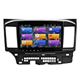 JALAL Navegador GPS para Mitsubishi Lancer 2008-2015 Android 10.0 Doble DIN 10.1'Navegación GPS Multimedia para automóvil Auto Radio Estéreo Soporte Auto Play/TPMS/OBD / 4G WiFi/Dab/SWC