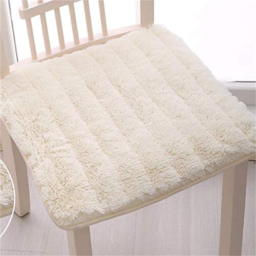 MissZZ Shaggy Cojines Antideslizantes para sillas, cómodos Cojines de Asiento Lavables Silla de Comedor Silla de Oficina para Coche Thicken Universal (la Silla no está incluida) -Blanco 45x45cm (18