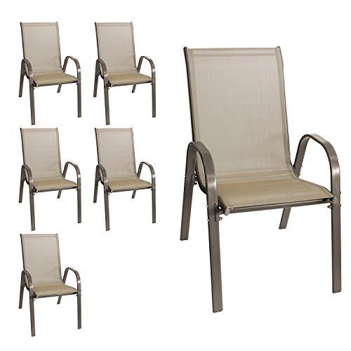 Wohaga® 6er Set Stapelstuhl 'New York', Textilenbespannung Champagner, Stahlgestell pulverbeschichtet, stapelbar, Gartenstuhl