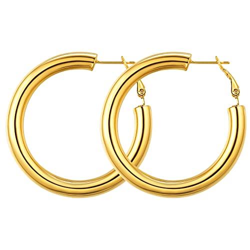 GoldChic Pendientes dorados boda Oro baño 40mm diametro Aro pendiente mujer hoop earrrings Cierre a presion Gratis caja de regalo