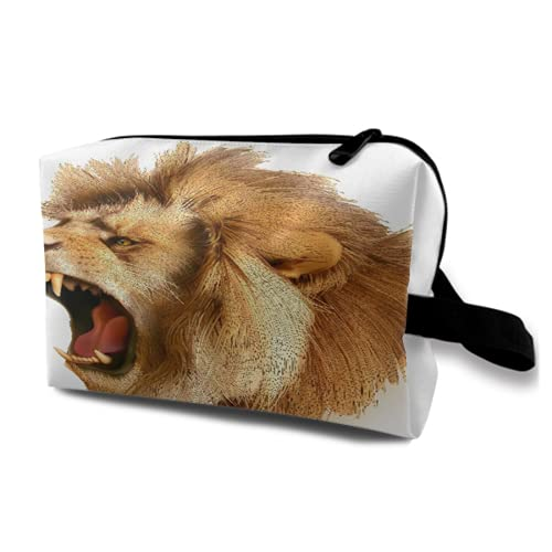 Neceser Colgante de Viaje,Cubre rugiente Cabeza de león Salvaje Safari Animal Africano Dibujos Animados majestuosos,Organizador de Maquillaje cosmético Bolsa de higiene y Organizador de Ducha