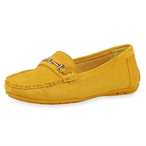 SCARPE VITA Damen Slipper Mokassins Bequeme Freizeitschuhe Wildleder-Optik Slip Ons Schuhe Schnalle Komfortschuhe 188080 Gelb Yellow Total 36