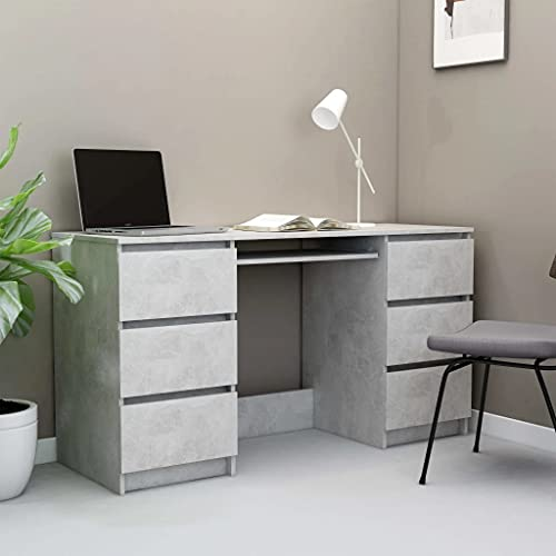 vidaXL Writing Desk with Drawers Durable Home Garden Office Furniture Computer Study Table Laptop Workstation Concrete Grey 140cm Chipboard
