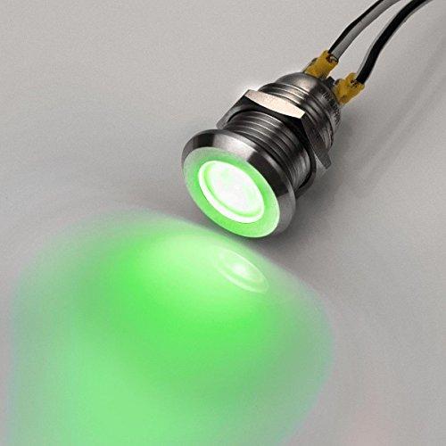 12mm - LED-Kontrollleuchte - V2A Edelstahl - 6V-24V - Wasserdicht – Grün