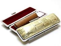 「なつめ印鑑10.5mm×60mmニューカラークロコケース(ゴールド)付き」 縦彫り 古印体