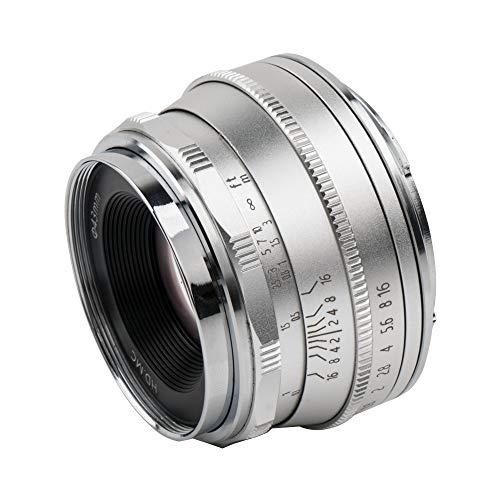 Pergear 25mm F1.8 交換レンズ Fujifilm Xマウントカメラ用 交換用レンズ f1.8-f16 明るい ボケ味 ポートレート 風景に最適 FujiカメラX-A1 X-A10 X-A2 X-A3 A-at X-M1 XM2 X-T1 X-T3 X-T10 X-T2 X-T20 X-T30 X-Pro1 X-Pro2 X-E1 X-E2 E-E2s X-E3に対応 (银)