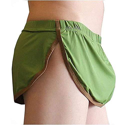 HJL Slip da Uomo Traspirante con Spacco Laterale Laterale Boxer Perizoma Pantaloncini Perizoma bauli Intimo in Morbido Cotone,Verde,M