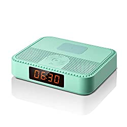 Bluetooth Speakers with FM Radio, Portable Alarm Clock, Wireless Charger for iphone Samsung, Bluetooth V5.0 Music Player with Stereo Sound, 7 Hrs Play Time, Built-in Microphone, for Office Home- Green