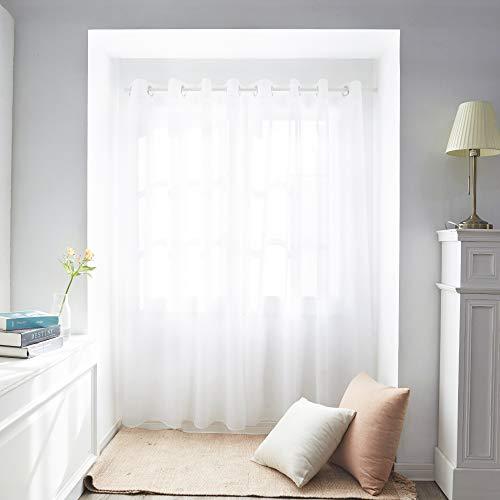 Deconovo Gardinen Transparent Vorhänge mit Ösen Stores Wohnzimmer Schlafzimmer Ösenschal Weiß 240x140 cm 2er Set