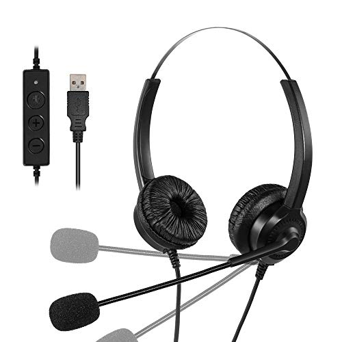 Ttkgyoe USB Headset with Microphone Noise Cancelling and Audio Control Stereo PC Headphones for Business Skype, Clearer Speech Super Light Ultra Comfort