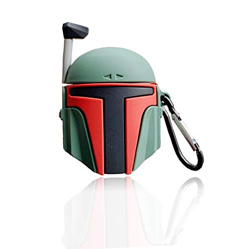 Airpods Case, Mandalorian Helmet Style Airpods Protective Case Cover with Keychain Compatible,Shockproof Anti-Lost AirPods Case Cover for Girls and Women(Boba Fett Helmet/for AirPods1&2)