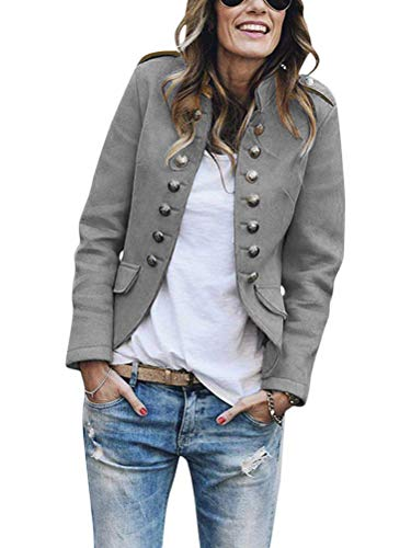 Tomwell Damen Blazer Elegant Anzugjacke Mantel mit Knopfleiste Military Blazer Lang Blazer Slim Fit Blazer Freizeit Stehkragen Business Büro Anzug Jacken Grau 40