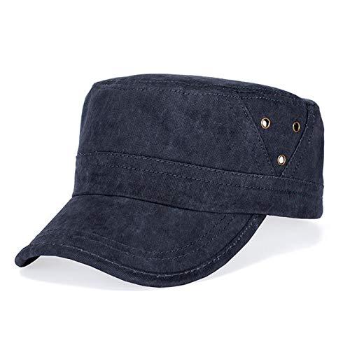 H/A Sombrero Militar de algodón de los Hombres Sombrero de la Escuela Militar Sombrero Military Flat Top Puede Ajustar la Gorra de béisbol CRCOG (Color : Hide Blue)