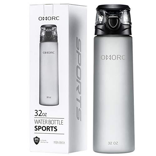 OMORC Unisex-Adult MEOD271AB Wasserflasche mit fruchteinsatz 1L BPA-Frei mit Gel Freezer Ball, Obst Fruit Infuser Auslaufsicher Trinkflasche mit Flaschenbürste Fahrradflasche für Sport Büro, Grau, L